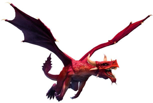 Red dragon 3D illustration Red dragon flying 3D illustration dragon stock pictures, royalty-free photos & images