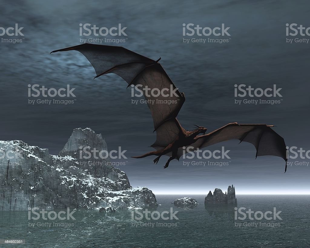 Red Dragon at Night stock photo