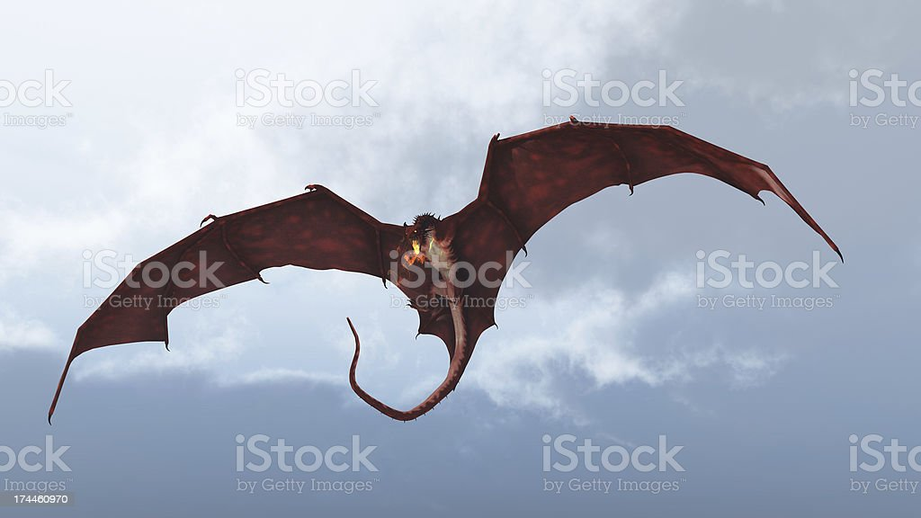 Red Dragon Attacking from a Cloudy Sky stock photo
