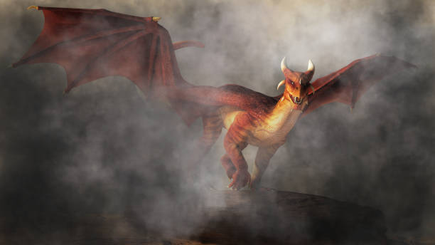 Red Dragon in Fog A red dragon emerges from fog and smoke.  The monster of myth, fantasy and legend glares at you with a look of malice as it comes towards you. 3D Rendering dragon stock pictures, royalty-free photos & images