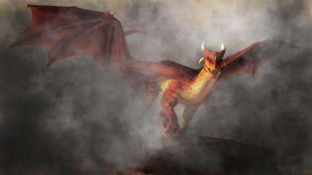 dragón rojo en la niebla - dragón fotografías e imágenes de stock