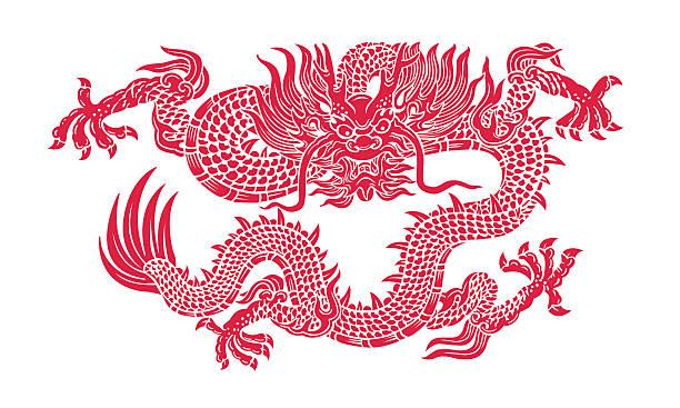 red dragon - chinesische zeichen tattoos stock-fotos und bilder
