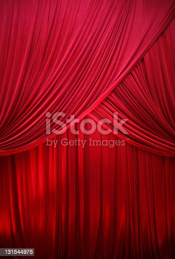 Red drape under the spotlight.