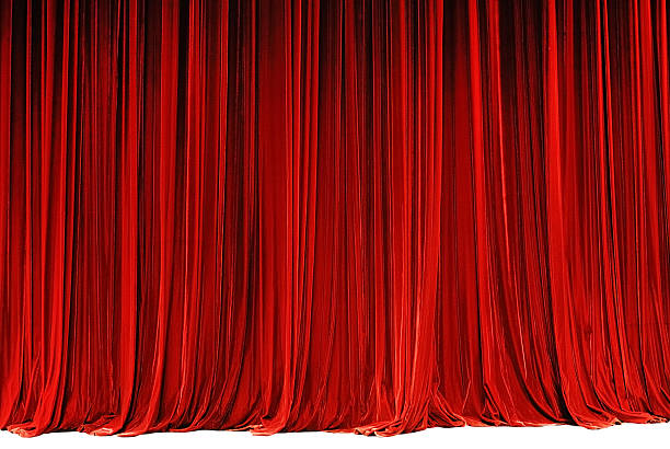 red drape - curtain stock photos and pictures