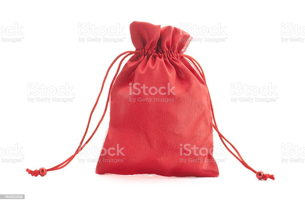 Red drawstring pouch (bag) on white background stock photo