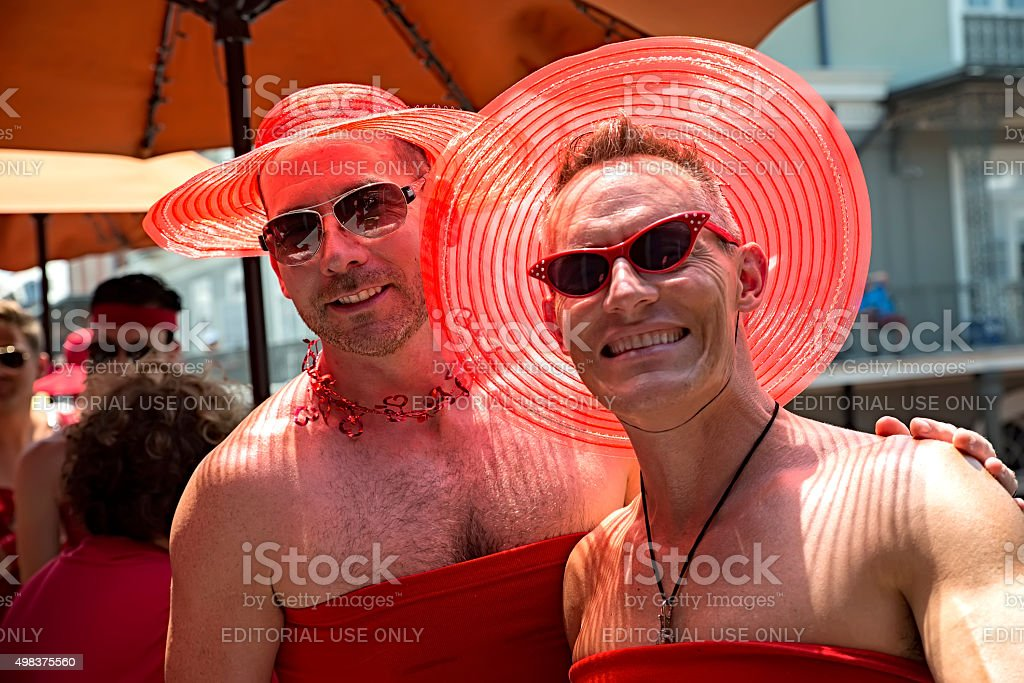 Red dress Run New Orleans stock photo