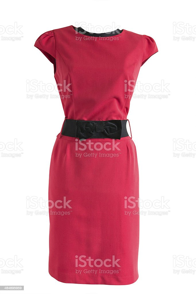 red dress with black belt on a mannequin stock photo