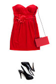 """""""red dress with shoes, taken from above.  minidress with bag"""""""