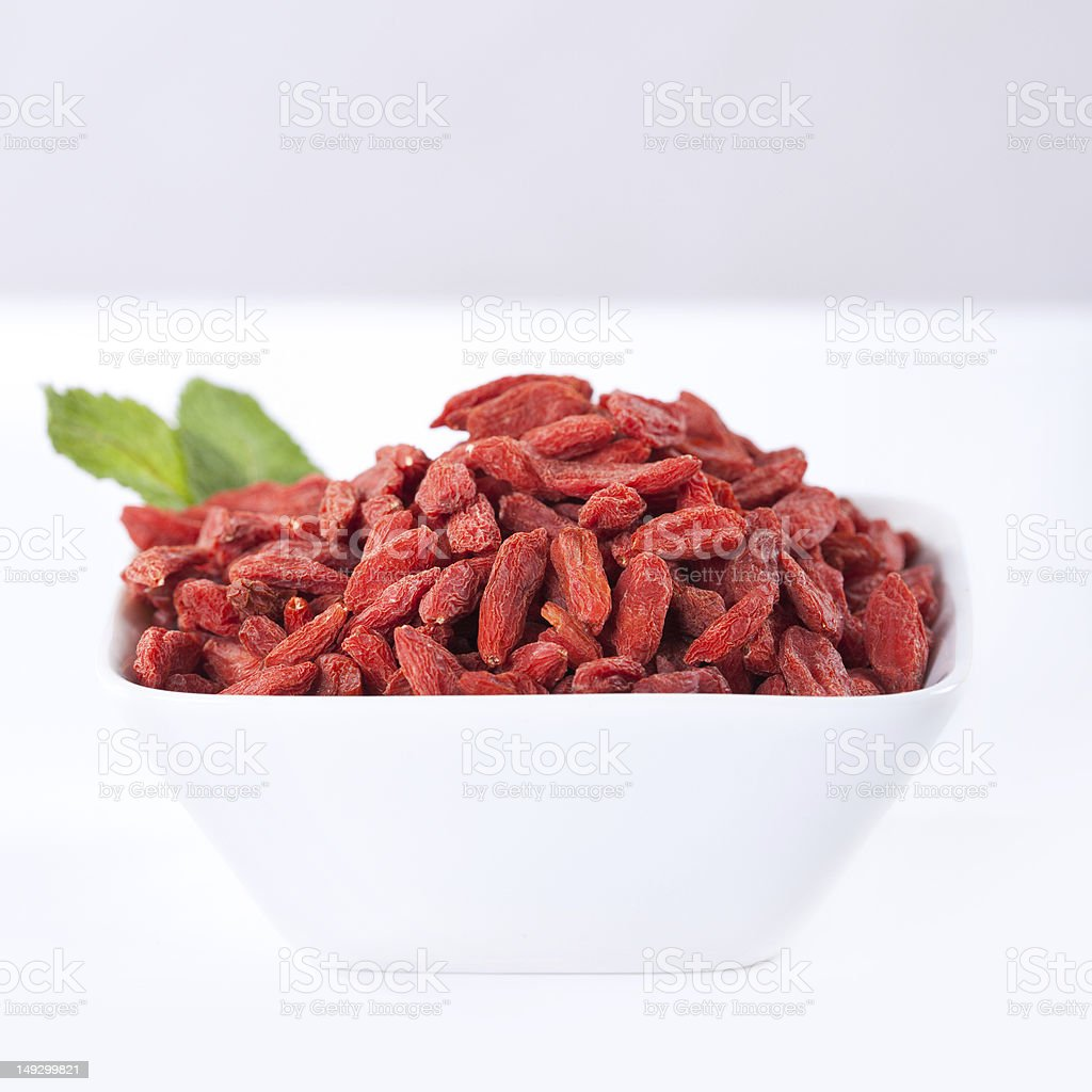 red dried goji berries on a bowl royalty-free stock photo