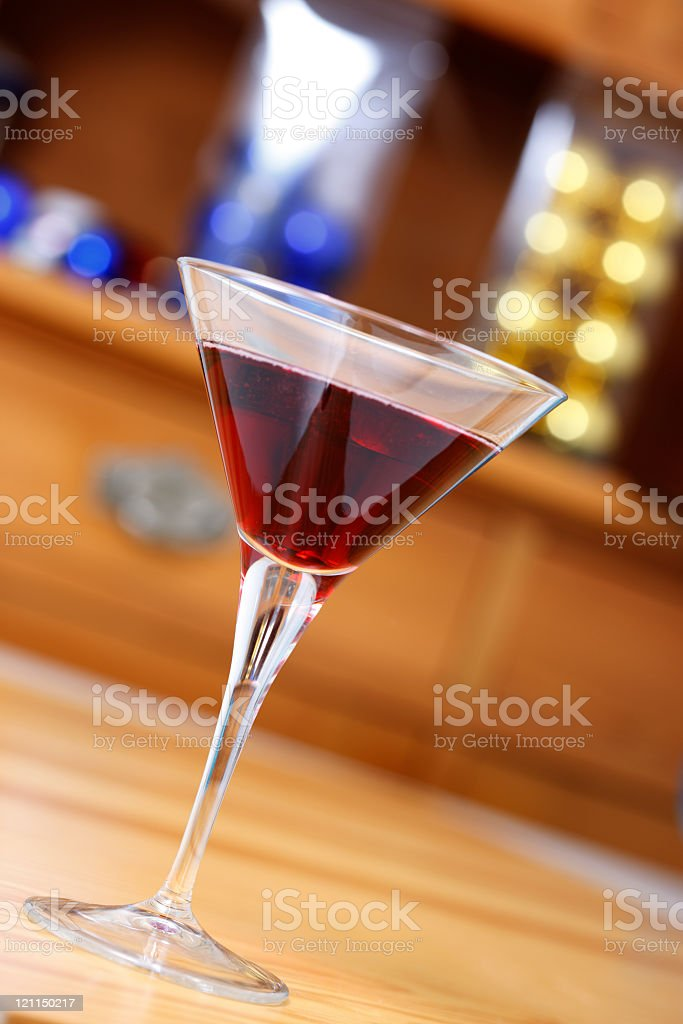 Red Drink in a Cocktail glass stock photo
