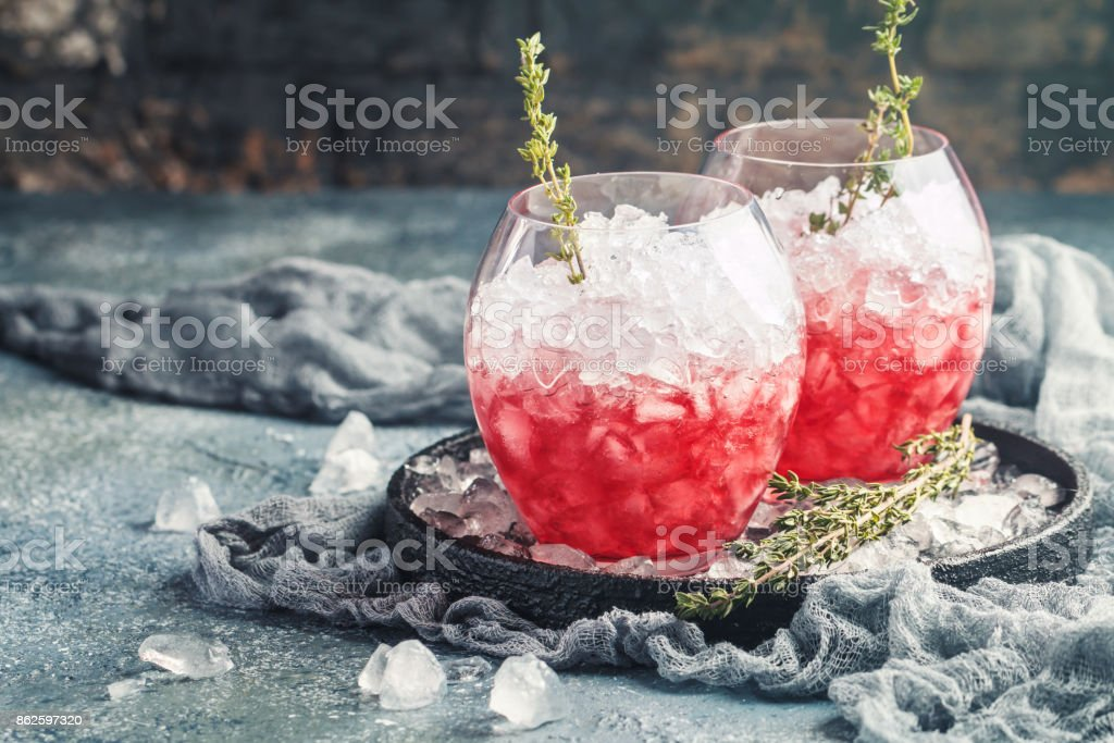 Red drink with ice stock photo