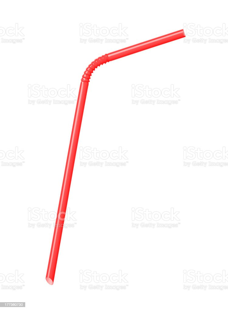 Red drinking straw bent on white background stock photo