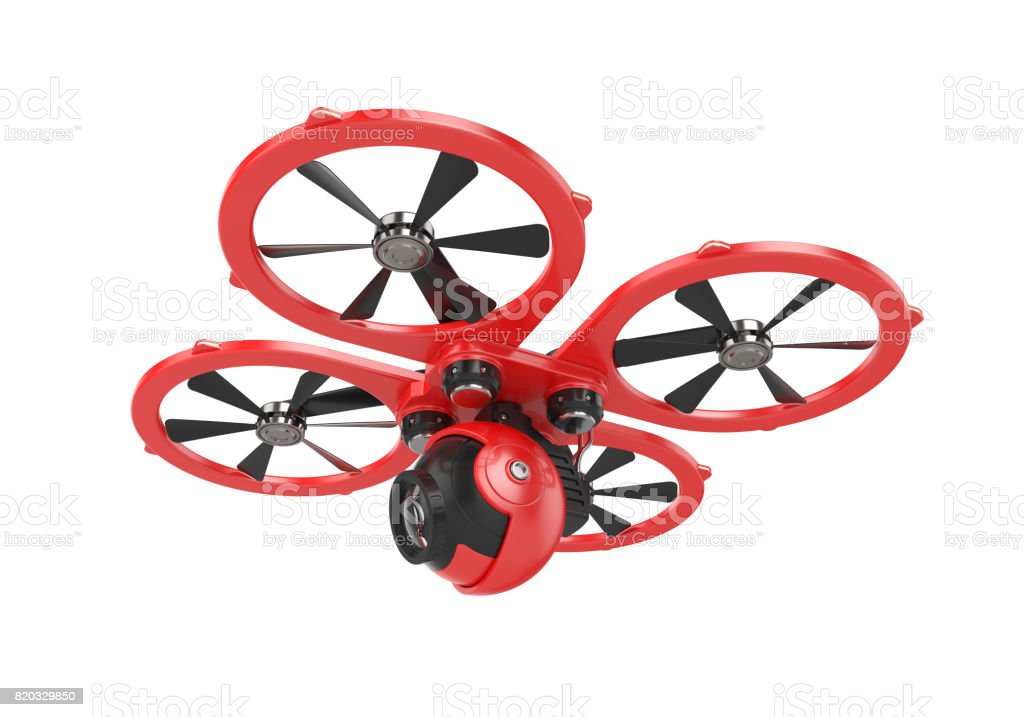 Red drone quadrocopter with camera stock photo