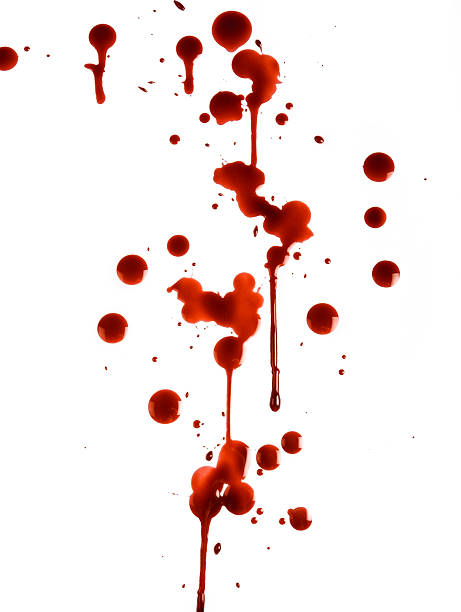 Red Drops of Blood on White Background stock photo