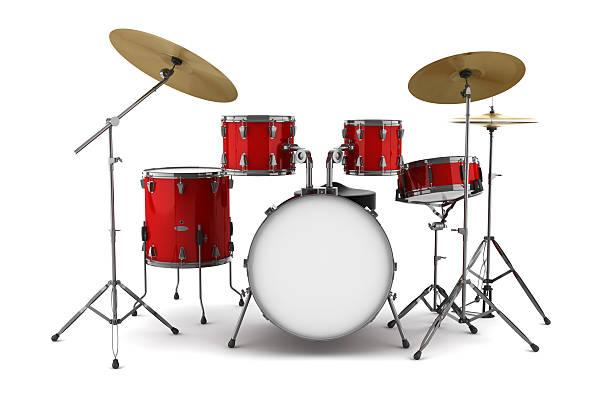 red drum set, isoliert auf weißem hintergrund - schlagzeuge stock-fotos und bilder