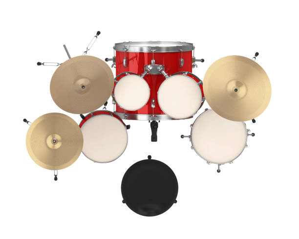 Red Drum Kit Isolated Red Drum Kit isolated on white background. 3D render cymbal stock pictures, royalty-free photos & images