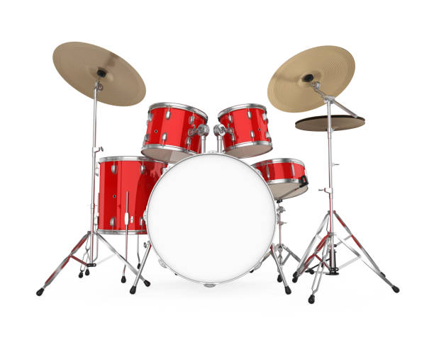 Red Drum Kit Isolated Red Drum Kit isolated on white background. 3D render drum kit stock pictures, royalty-free photos & images