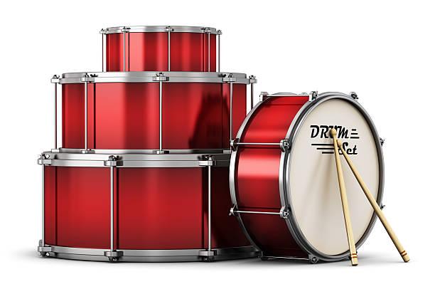 red drum-set mit drumsticks - schlagzeuge stock-fotos und bilder