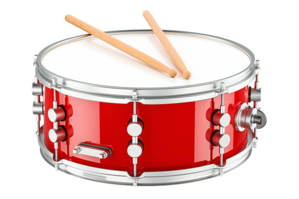 Red drum with drumsticks, 3D rendering isolated on white background stock photo