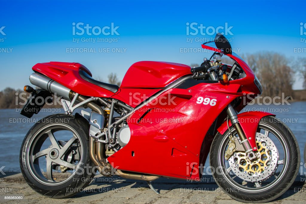 Red Ducati 996 sport motorcycle stock photo