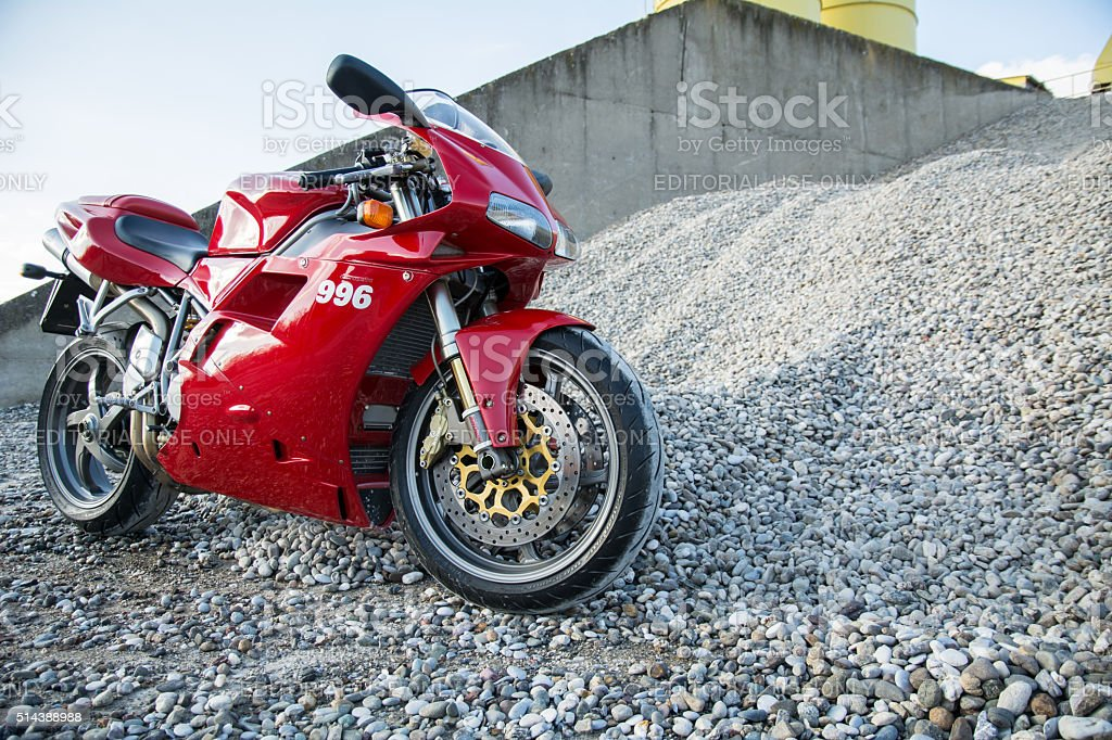Red Ducati 996s motorcycle photoshooting stock photo