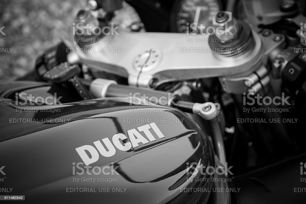 Red Ducati motorcycle stock photo