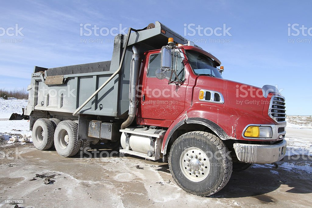 Red Dump Truck Stock Photo - Download Image Now - iStock