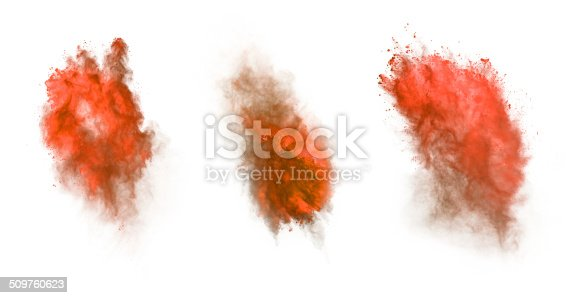 istock Red dust explosion isolated on white background 509760623