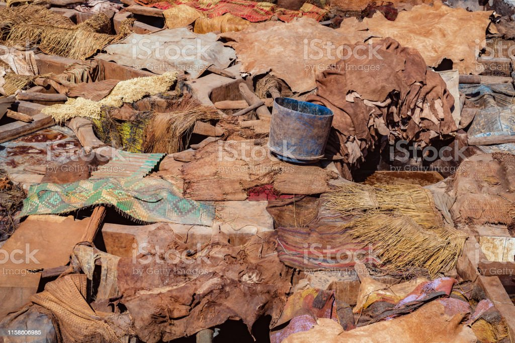 ed dyed leather hides dry in sunshine, Morocco, North Africa,Nikon D3x