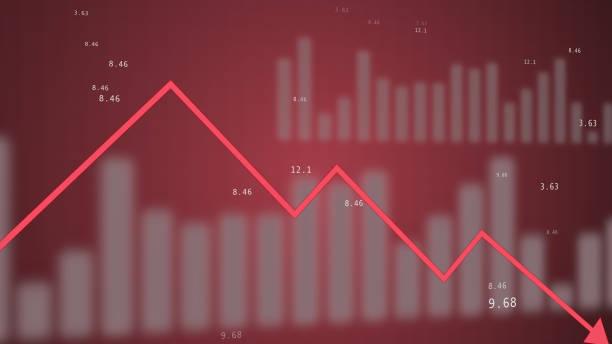 röd dynamisk nedåtgående trend diagram stiliserad animation. - graphs animation bildbanksfoton och bilder