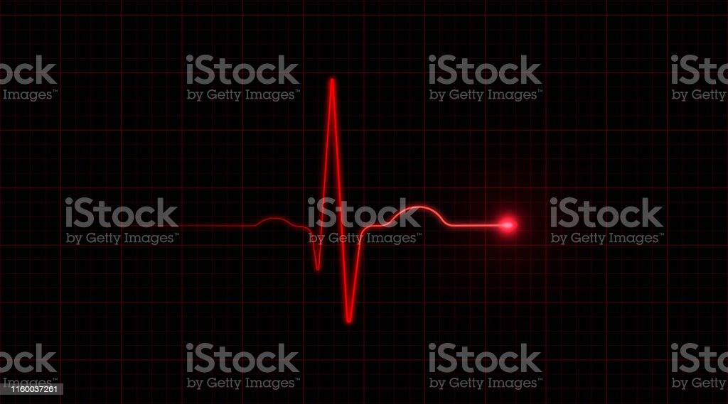 Red EKG On Black Background Red EKG on black background. Horizontal composition with copy space. Abstract Stock Photo
