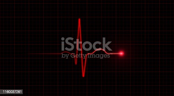 Red EKG on black background. Horizontal composition with copy space.
