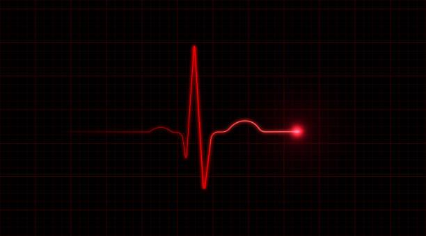 Rot EKG auf schwarzem Hintergrund – Foto