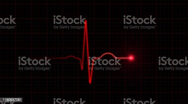 Red Ekg On Black Background Stock Photo - Download Image Now