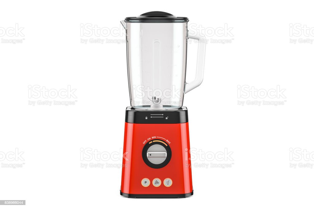 Red electric blender, 3D rendering isolated on white background stock photo