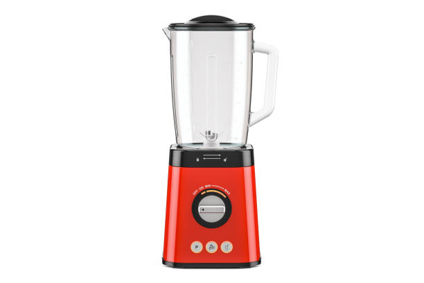 Red electric blender, 3D rendering isolated on white background Red electric blender, 3D rendering isolated on white background blender stock pictures, royalty-free photos & images
