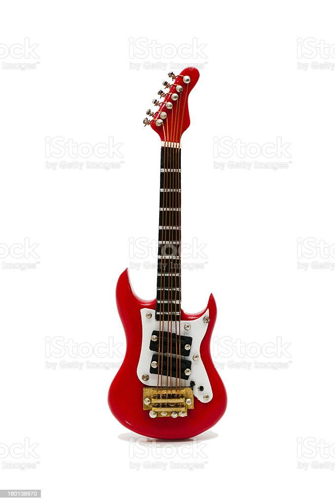 Red electric guitar isolated on white stock photo