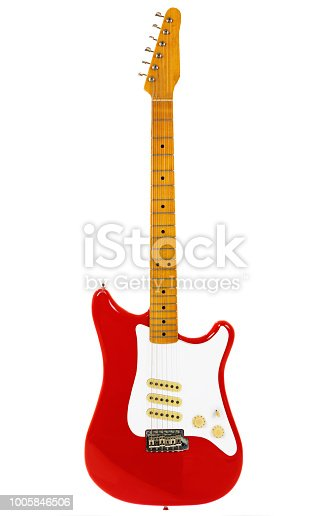 A classic electric guitar isolated on white.