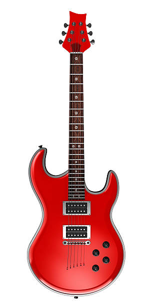 Red electric guitar stock photo