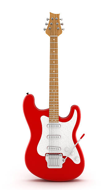 red electric guitar - rock object stock pictures, royalty-free photos & images
