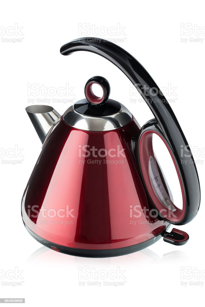 red electric kettle isolated on white background. royalty-free stock photo