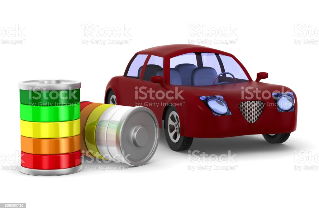 Red electro car on white background. Isolated 3D illustration stock photo