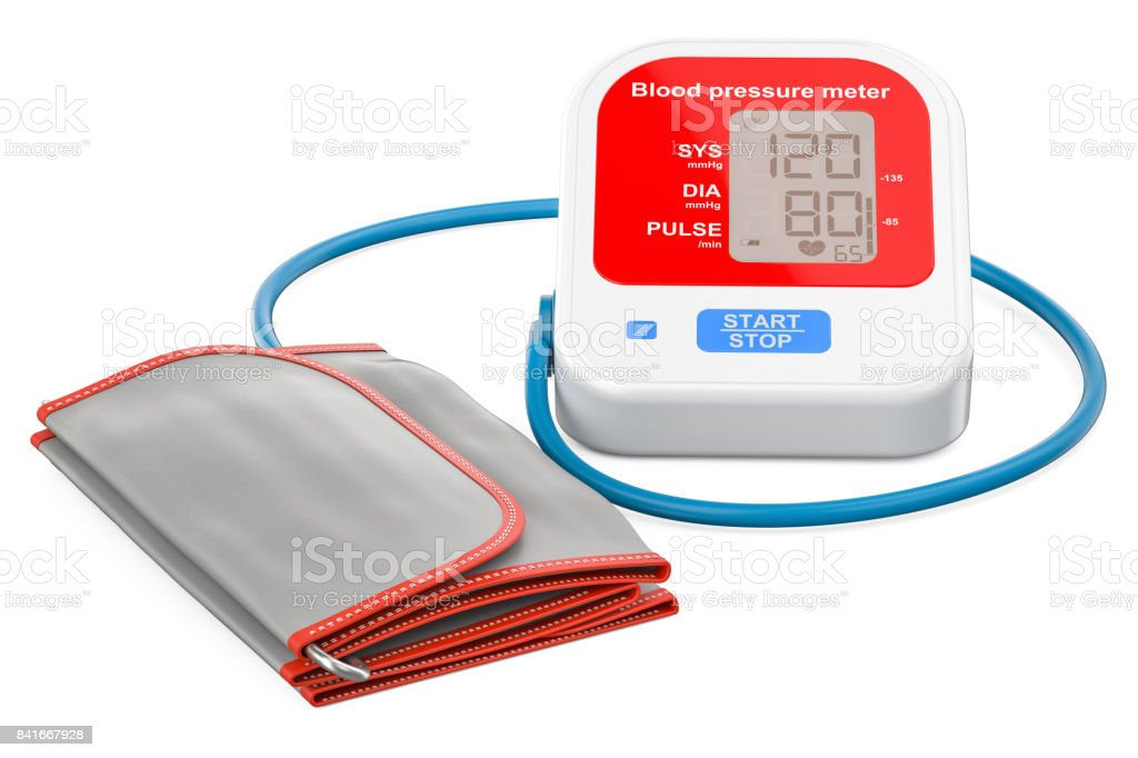 red electronic sphygmomanometer, 3D rendering isolated on white background stock photo