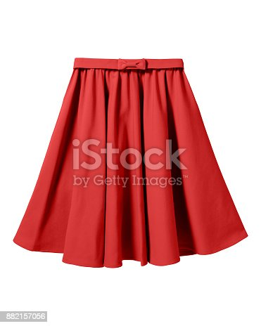 Red elegant skirt with ribbon bow isolated on white