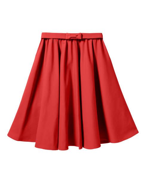 red elegant skirt with ribbon bow isolated on white - spódnica zdjęcia i obrazy z banku zdjęć