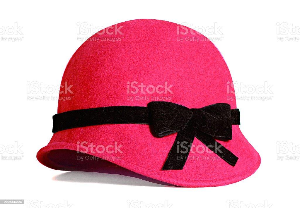 Élégant chapeau rouge femme seul sur blanc avec trait de coupe. - Photo