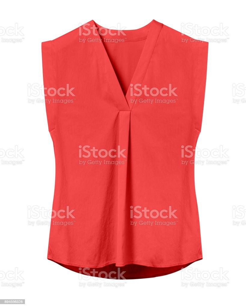 Rote elegante Frau Sommerbüro ärmellose Bluse isoliert auf weiss – Foto