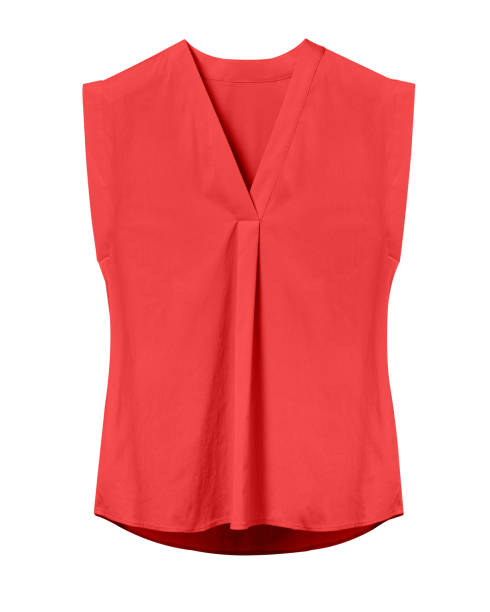 Red elegant woman summer sleeveless office blouse isolated on white Red elegant woman summer sleeveless office blouse isolated on white blouse stock pictures, royalty-free photos & images