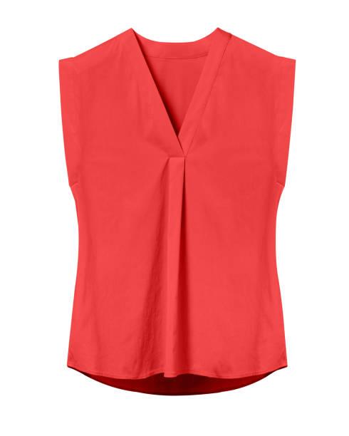 Red elegant woman summer sleeveless office blouse isolated on white stock photo