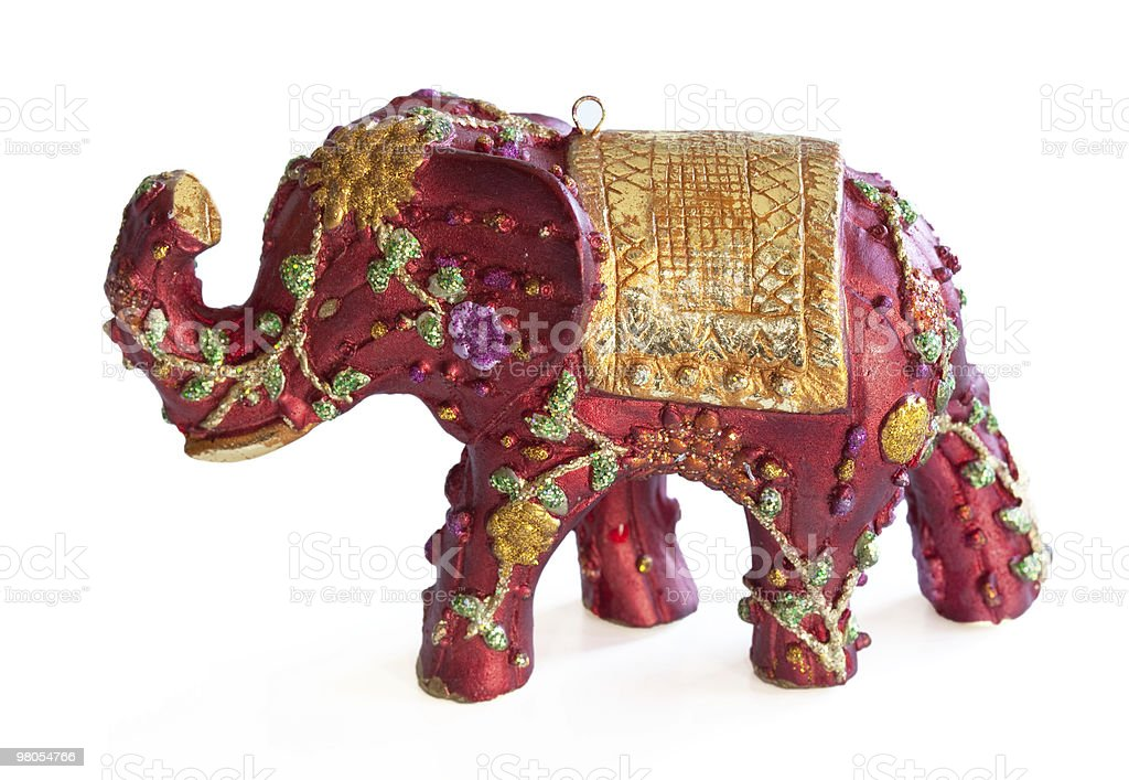 Red Elephant Ornament on White royalty-free stock photo